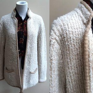 Oatmeal Chunky Knit Cardigan Sweater L Vintage